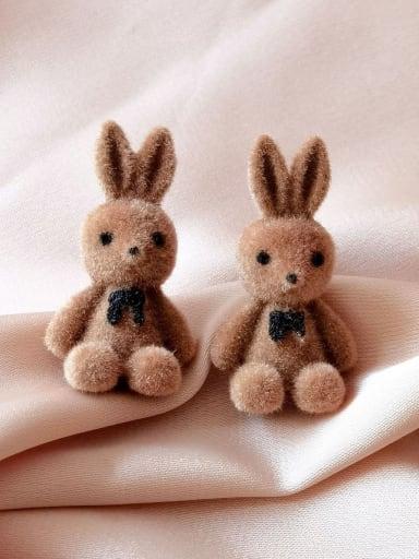Dark coffee Brass Rabbit Cute Stud Earring