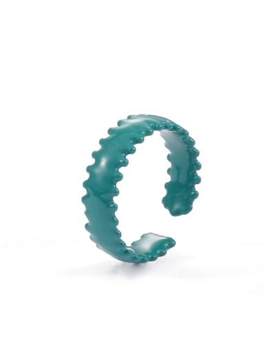 green Zinc Alloy Enamel Bowknot Minimalist Band Ring