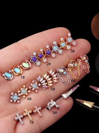 Brass Opal Flower Hip Hop Stud Earring