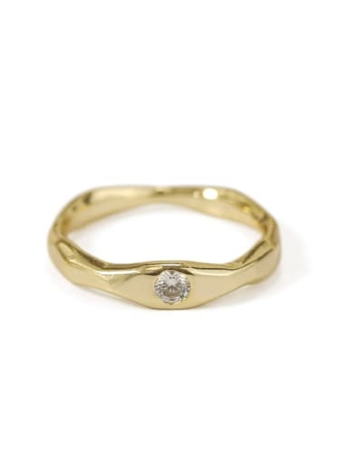 White zircon coarse Brass Cubic Zirconia Geometric Minimalist Band Ring