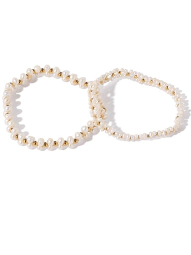 Brass Freshwater Pearl Irregular Ethnic Adjustable Bracelet