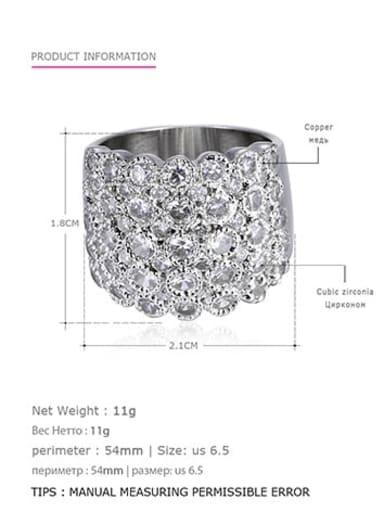 Steel  white us6.5 54mm Brass Rhinestone Geometric Vintage Statement Ring