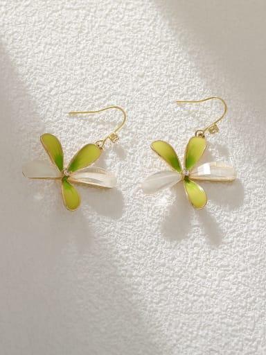Gradient green Brass Enamel Flower Minimalist Hook Earring