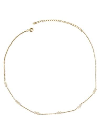 Intercellular chain Brass Freshwater Pearl Locket Minimalist Necklace