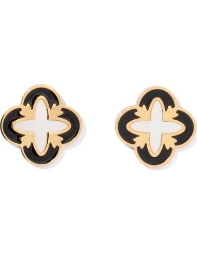 Brass Enamel Clover Vintage Stud Earring