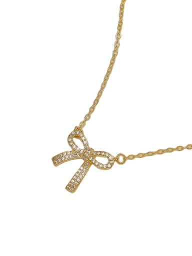 Brass Cubic Zirconia Bowknot Vintage Necklace