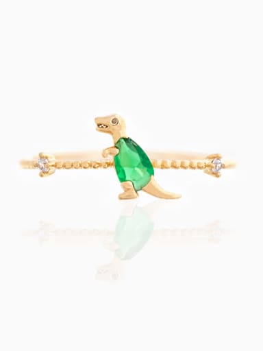 Green 18K Gold Brass Cubic Zirconia Multi Color Dragon Cute Band Ring