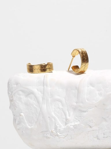 Brass Smooth Geometric Ethnic Stud Earring