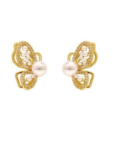 Brass Imitation Pearl Butterfly Vintage Stud Earring