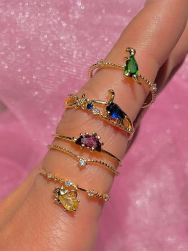 Brass Cubic Zirconia Multi Color Dragon Cute Band Ring