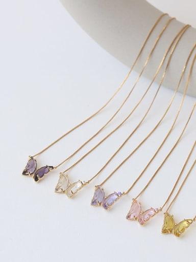 Brass Glass Stone Butterfly Minimalist Pendant Necklace