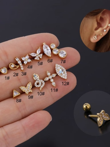 Stainless steel with Cubic Zirconia Ear Bone Nail/Puncture Earring