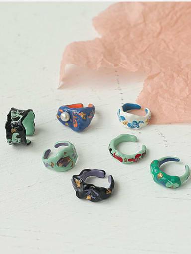 Alloy Enamel Irregular Minimalist Band Ring