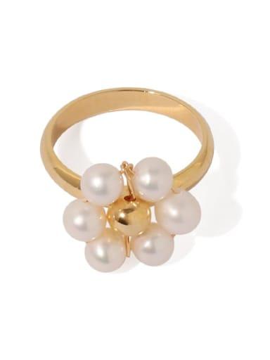 Brass Imitation Pearl Flower Minimalist Band Ring