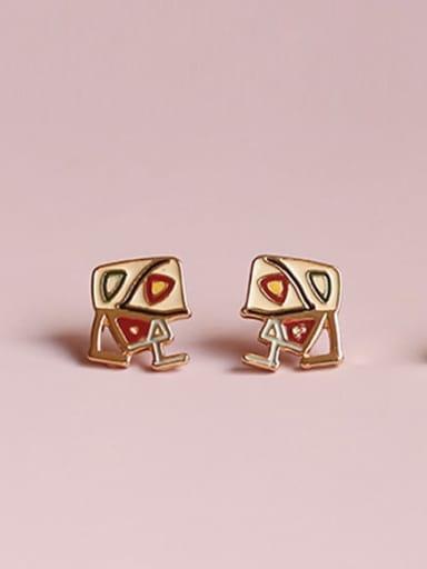 Alloy Enamel Heart Cute Stud Earring