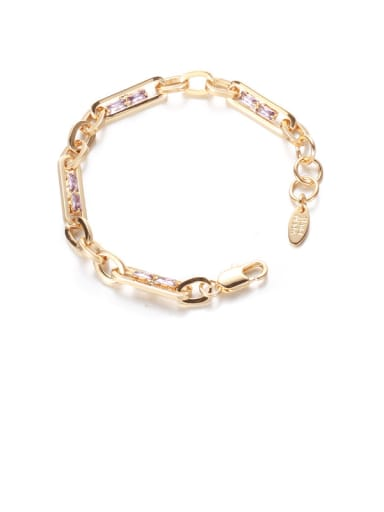 golden Brass Cubic Zirconia Geometric Hip Hop Link Bracelet