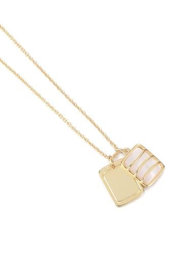 Brass Shell Geometric Vintage Multi Strand Necklace