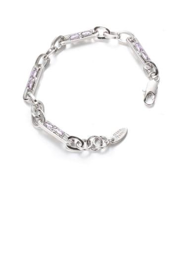 Platinum Brass Cubic Zirconia Geometric Hip Hop Link Bracelet