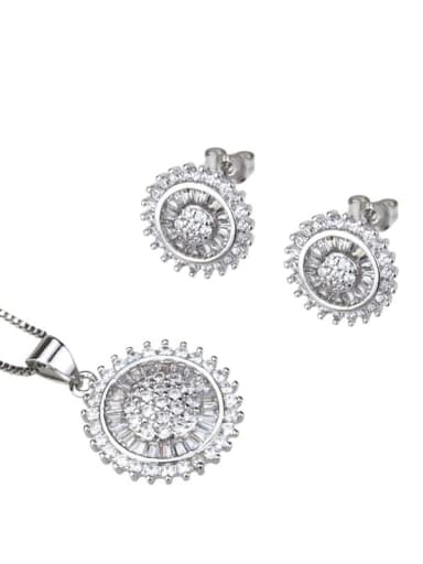 White zirconium plating Brass Dainty Round Cubic Zirconia Earring and Necklace Set