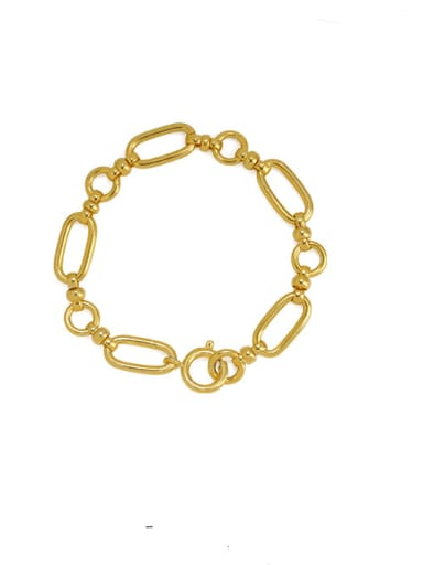 Brass Hollow Geometric  Chain Vintage Link Bracelet