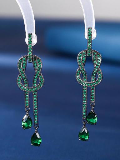 green Brass Cubic Zirconia Geometric Vintage Drop Earring