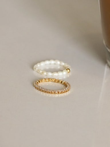Brass Cubic Zirconia Geometric Minimalist Band Ring