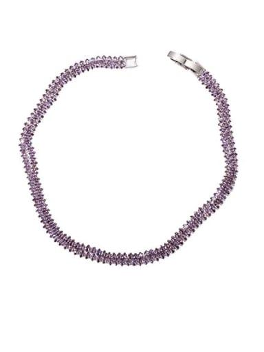White Gold Purple zircon collar Brass Cubic Zirconia Geometric Minimalist Choker Necklace