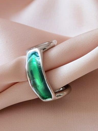 White K green Alloy Enamel Geometric Minimalist Band Ring