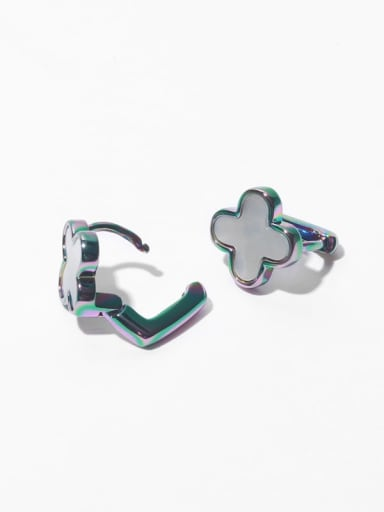 Brass Shell Clover Minimalist Huggie Earring
