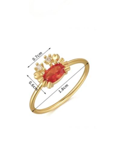 Crab Brass Cubic Zirconia Multi Color Irregular Cute Band Ring