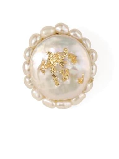 Ear Studs Brass Freshwater Pearl Flower Vintage Clip Earring