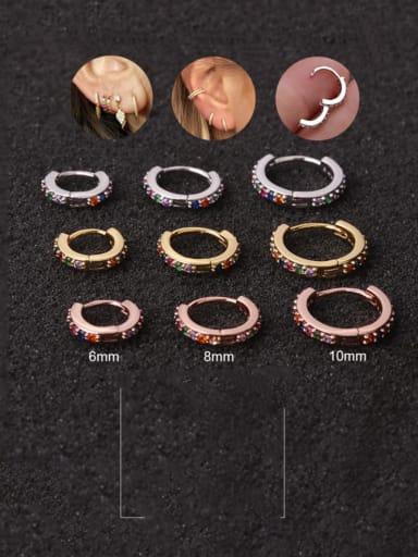 Brass Cubic Zirconia Round Hip Hop Huggie Earring