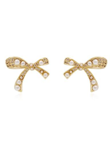 Brass Imitation Pearl Bowknot Vintage Stud Earring