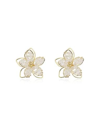 Copper Crystal Flower Minimalist Stud Earring