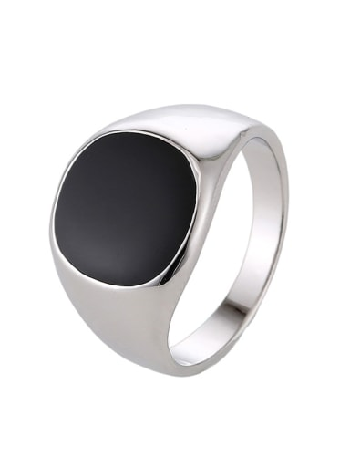 platinum Zinc Alloy Acrylic Geometric Vintage Band Ring