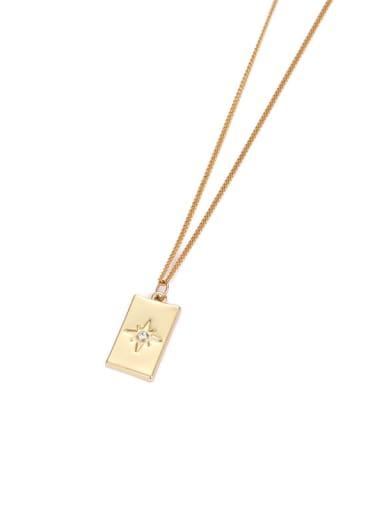 Brass Rhinestone Star Minimalist Necklace