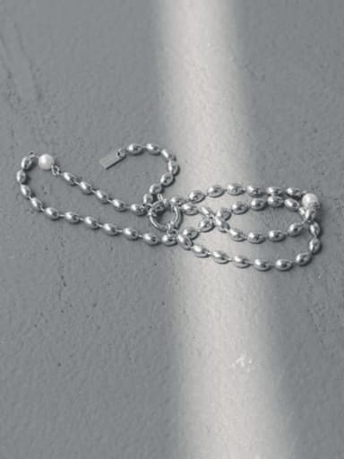 Brass Bead Oval Minimalist Beaded Necklace