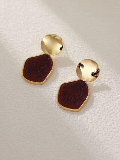 14K gold+ red Brass Resin Geometric Vintage Drop Earring