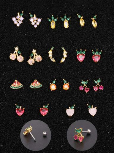Brass Cubic Zirconia Multi Color Friut Cute Stud Earring