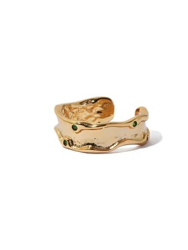 Gold Ring Emerald zircon Brass Cubic Zirconia Irregular Vintage Band Ring