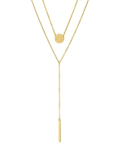golden Stainless steel Round Dainty Multi Strand Necklace