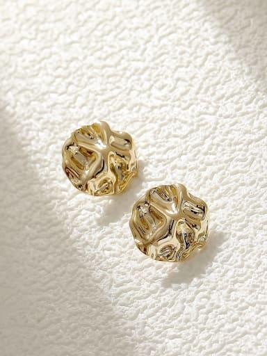 14k Gold Brass Round Vintage Stud Earring