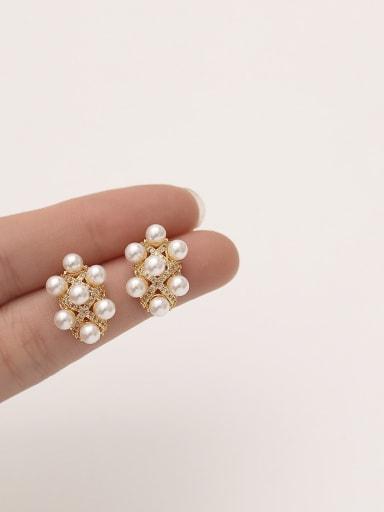 Brass Cubic Zirconia Geometric Dainty Stud Earring