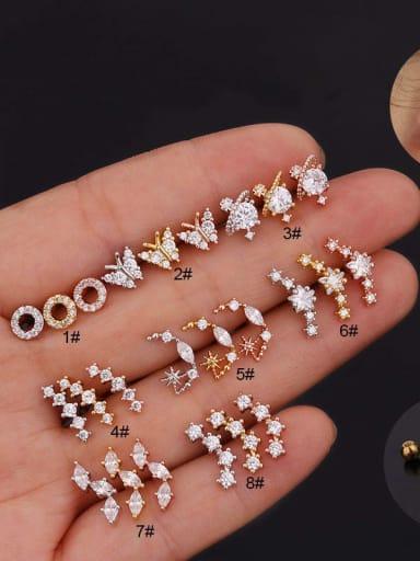 Brass with Cubic Zirconia White Flower Minimalist Stud Earring