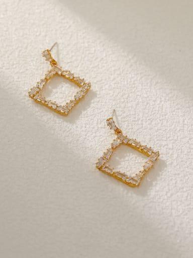 14k Gold Brass Cubic Zirconia Geometric Vintage Drop Earring