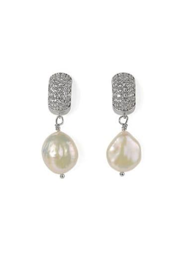 Brass Freshwater Pearl Geometric Classic Chandelier Earring