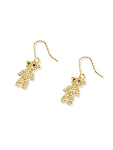 Brass Cubic Zirconia Bear Dainty Hook Earring