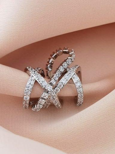 White K  (single) Brass Cubic Zirconia Geometric Vintage Single  Clip Earring