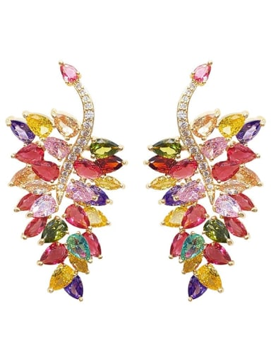 Brass Cubic Zirconia Leaf Luxury Chandelier Earring