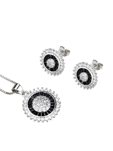 Platinum Plated Black zirconium Brass Dainty Round Cubic Zirconia Earring and Necklace Set